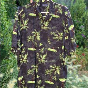 Vtg PURITAN Black Rayon Palm Trees Shirt Sz XL
